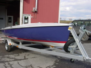 Navy Boat w/ Red Stripe